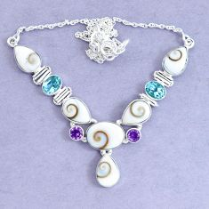 28.37cts natural white shiva eye amethyst 925 sterling silver necklace p19296