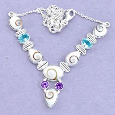 925 sterling silver 28.02cts natural white shiva eye amethyst necklace p19298