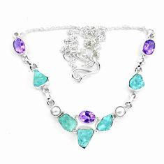 25.31cts natural aqua aquamarine rough amethyst pearl 925 silver necklace p20469