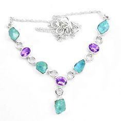 925 silver 27.91cts natural aqua aquamarine rough amethyst necklace p20471