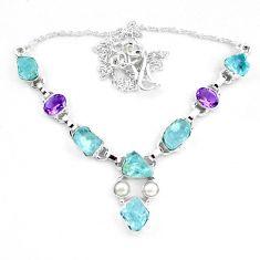 28.84cts natural aqua aquamarine rough amethyst 925 silver necklace p20472