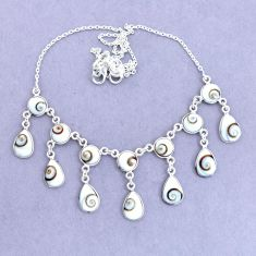 925 sterling silver 37.50cts natural white shiva eye necklace jewelry p22431