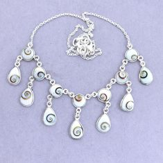 925 sterling silver 38.50cts natural white shiva eye necklace jewelry p22436