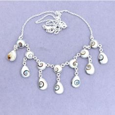 925 sterling silver 37.85cts natural white shiva eye necklace jewelry p22439