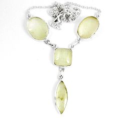 37.44cts natural libyan desert glass (gold tektite) 925 silver necklace p8481