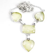 35.27cts natural libyan desert glass (gold tektite) 925 silver necklace p8483