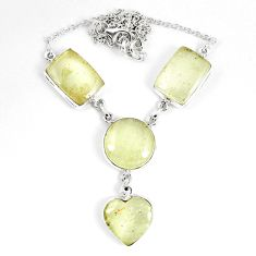 925 silver 43.77cts natural libyan desert glass (gold tektite) necklace p8484