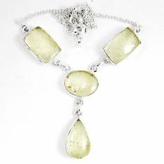 37.97cts natural libyan desert glass (gold tektite) 925 silver necklace p8485
