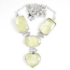 44.71cts natural libyan desert glass (gold tektite) 925 silver necklace p8486