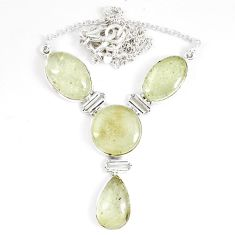 40.20cts natural libyan desert glass (gold tektite) 925 silver necklace p8487