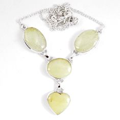 42.94cts natural libyan desert glass (gold tektite) 925 silver necklace p8488
