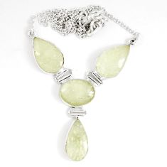 925 silver 40.87cts natural libyan desert glass (gold tektite) necklace p8489