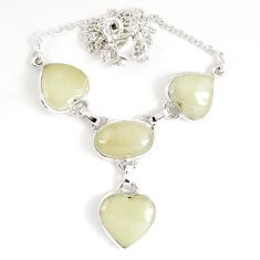 36.09cts natural libyan desert glass (gold tektite) 925 silver necklace p8490