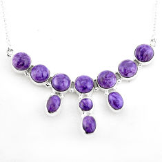 925 sterling silver 30.40cts natural purple charoite (siberian) necklace p93688