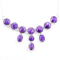 28.51cts natural purple charoite (siberian) 925 sterling silver necklace p93689