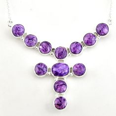 38.92cts natural purple charoite (siberian) 925 sterling silver necklace p93700