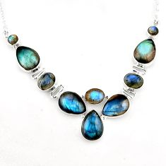 39.48cts natural blue labradorite 925 sterling silver necklace jewelry p93701