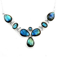 36.67cts natural blue labradorite 925 sterling silver necklace jewelry p93702