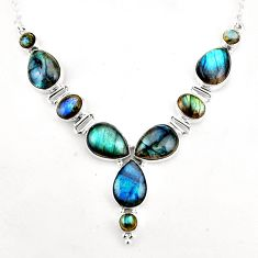 36.14cts natural blue labradorite 925 sterling silver necklace jewelry p93703