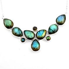 925 sterling silver 49.73cts natural blue labradorite pear necklace p93704