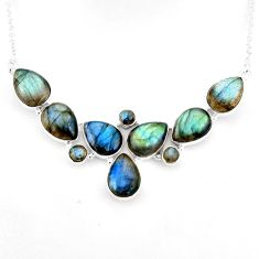 46.60cts natural blue labradorite 925 sterling silver necklace jewelry p93706