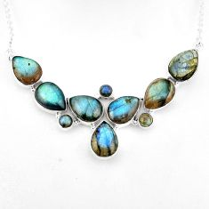 925 sterling silver 44.80cts natural blue labradorite pear necklace p93707
