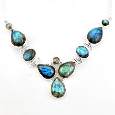 37.41cts natural blue labradorite 925 sterling silver necklace jewelry p93709