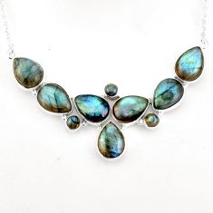 45.75cts natural blue labradorite 925 sterling silver necklace jewelry p93710