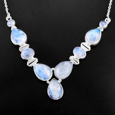 925 sterling silver 33.64cts natural rainbow moonstone necklace jewelry p93711