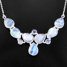 44.57cts natural rainbow moonstone 925 sterling silver necklace jewelry p93712