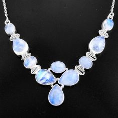 925 sterling silver 37.21cts natural rainbow moonstone necklace jewelry p93713