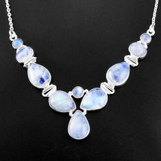 33.78cts natural rainbow moonstone 925 sterling silver necklace jewelry p93714