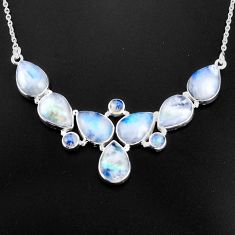 45.75cts natural rainbow moonstone 925 sterling silver necklace jewelry p93715