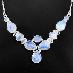 925 sterling silver 36.47cts natural rainbow moonstone necklace jewelry p93716