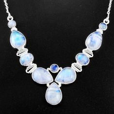 35.42cts natural rainbow moonstone 925 sterling silver necklace jewelry p93717