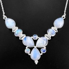 35.44cts natural rainbow moonstone 925 sterling silver necklace jewelry p93718