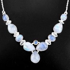 925 sterling silver 41.21cts natural rainbow moonstone necklace jewelry p93719