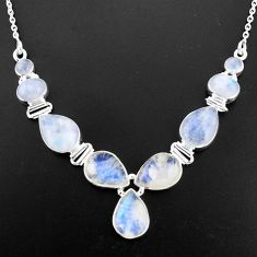 32.83cts natural rainbow moonstone 925 sterling silver necklace jewelry p93720