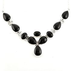 925 sterling silver 52.08cts natural black onyx pear necklace jewelry p93724
