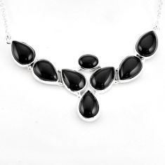 39.55cts natural black onyx 925 sterling silver necklace jewelry p93725