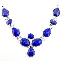 58.70cts natural blue lapis lazuli 925 sterling silver necklace jewelry p93726