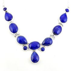 925 sterling silver 61.17cts natural blue lapis lazuli necklace jewelry p93727