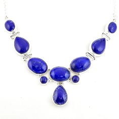 51.02cts natural blue lapis lazuli 925 sterling silver necklace jewelry p93728