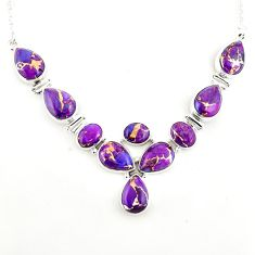 41.56cts purple copper turquoise 925 sterling silver necklace jewelry p93729