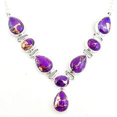 925 sterling silver 34.21cts purple copper turquoise pear necklace p93730