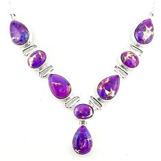 33.78cts purple copper turquoise 925 sterling silver necklace jewelry p93731