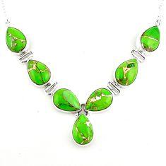 36.09cts green copper turquoise 925 sterling silver necklace jewelry p93732