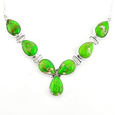 34.52cts green copper turquoise 925 sterling silver necklace jewelry p93733