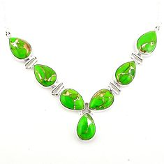 925 sterling silver 33.31cts green copper turquoise pear necklace p93734