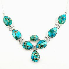 33.61cts blue copper turquoise 925 sterling silver necklace jewelry p93735